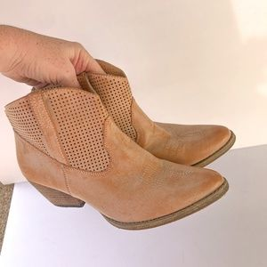 very volatile western leather booties brown 8.5
